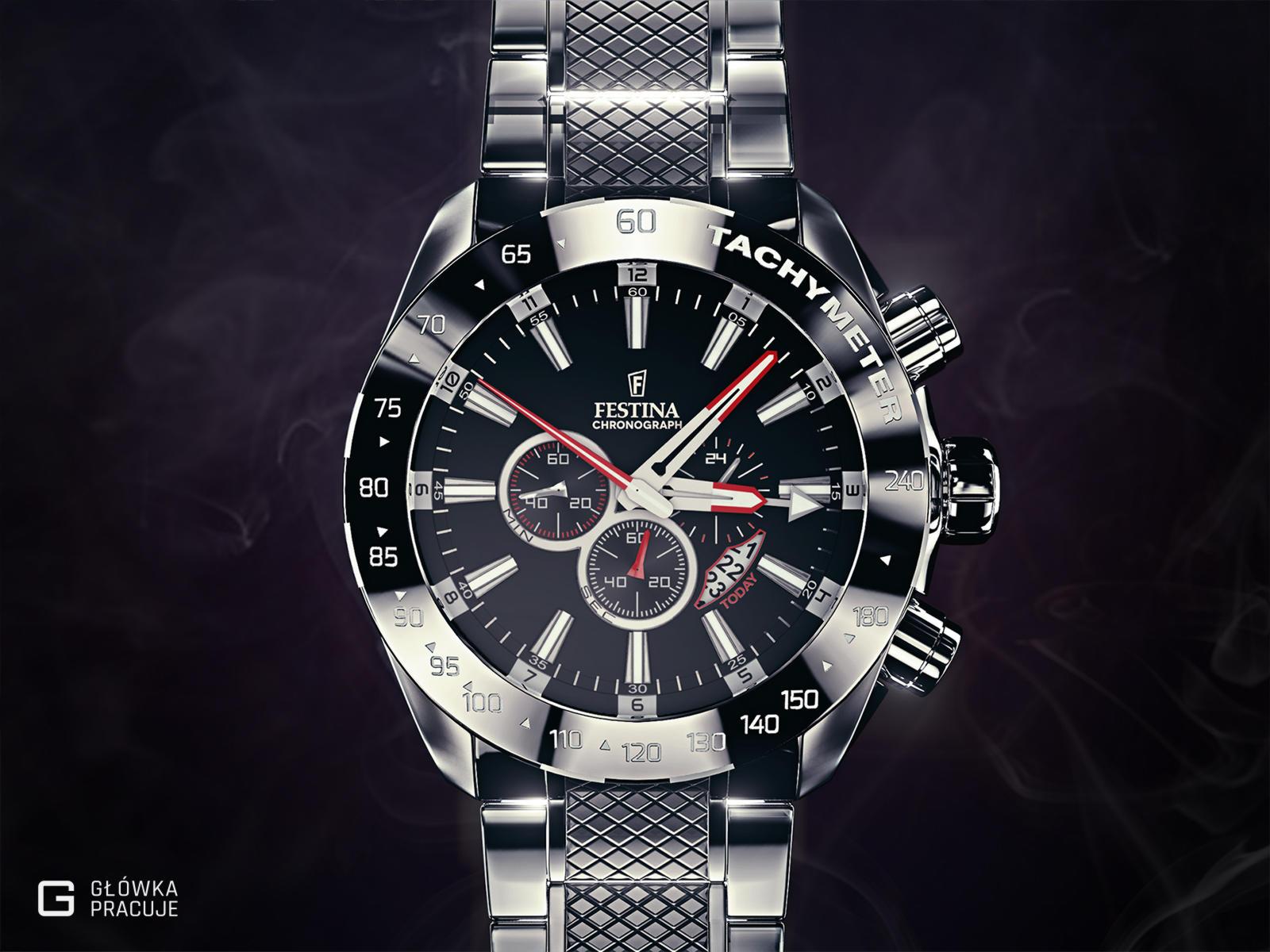 Główka pracuje pl Festina f16488 wizualizacja 3d zegarka, mentalray