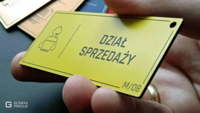 Główka pracuje tabliczki administracyjne żółty z czarnym dział sprzedaży widok pod kątem