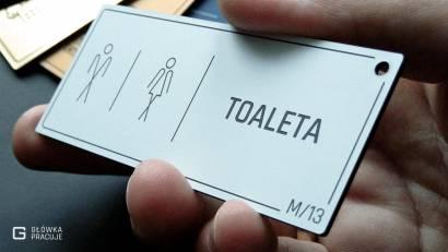Główka pracuje tabliczki administracyjne biały z czarnym toaleta widok pod kątem