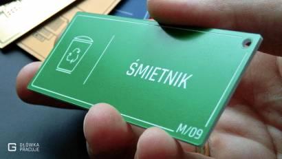 Główka pracuje tabliczki administracyjne zielony z białym śmietnik widok pod kątem
