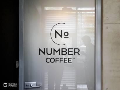Główka Pracuje pl Number Coffee folia matowa na drzwi szklane