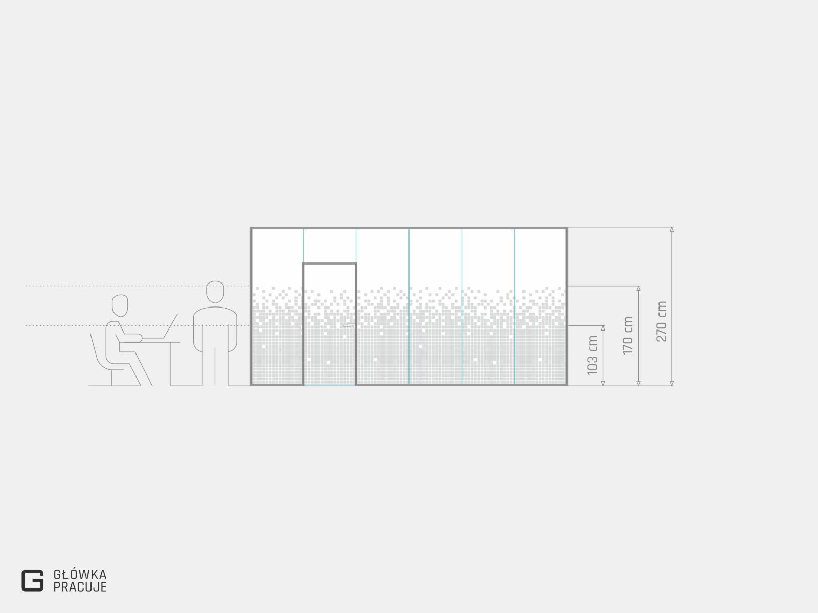Główka Pracuje - folia mrożona z wyciętym wzorem - rozsypane piksele - dane techniczne - Warszawa