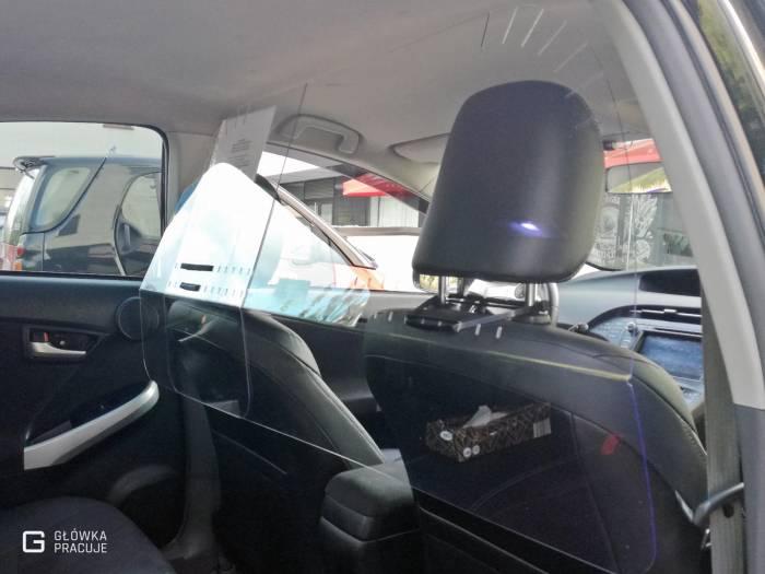 Główka Pracuje - modułowa sztywna przezierna 100% osłona przegroda antywirusowa covid19 do samochodu taxi pet 2mm toyota prius - Warszawa