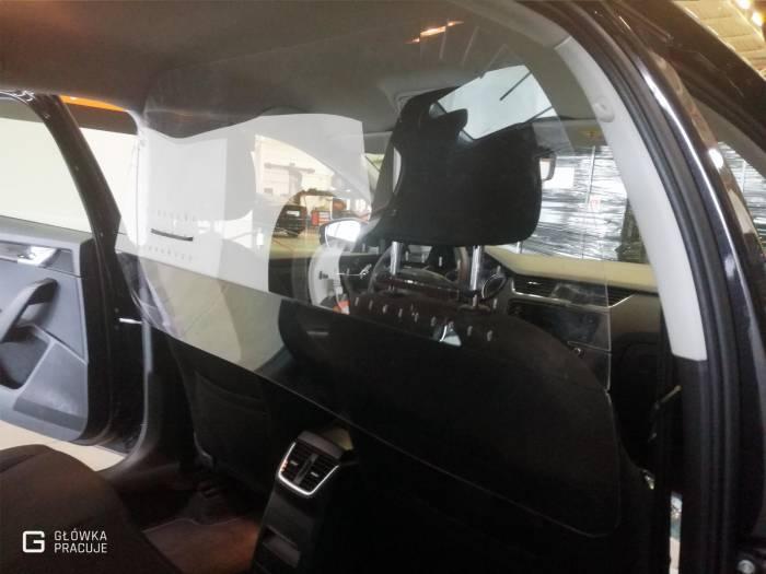 Główka Pracuje - uniwersalna sztywna przezroczysta osłona przegroda antywirusowa covid19 do samochodu taxi pet 2mm skoda - Warszawa