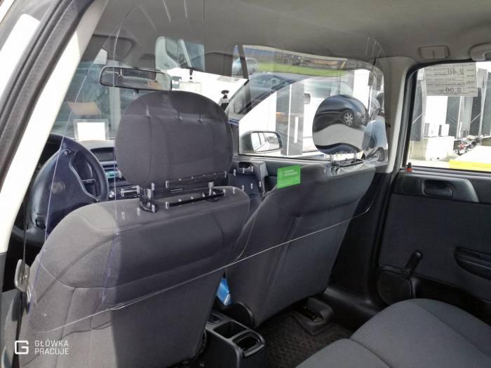 Główka Pracuje - uniwersalna sztywna przezroczysta przegroda antywirusowa covid19 do samochodu taxi pet 2mm opel - Warszawa
