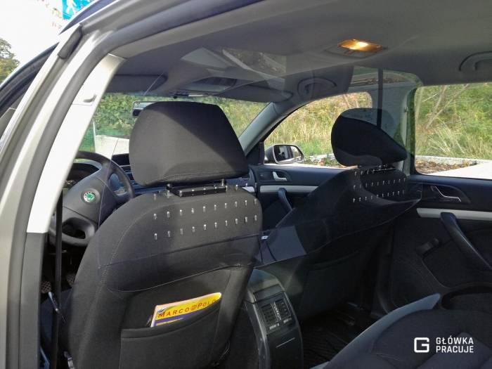 Główka Pracuje - uniwersalna sztywna przezierna osłona przegroda przeciwwirusowa Uber Bolt taxi covid19 do samochodu taxi pet 2mm skoda octavia - Warszawa