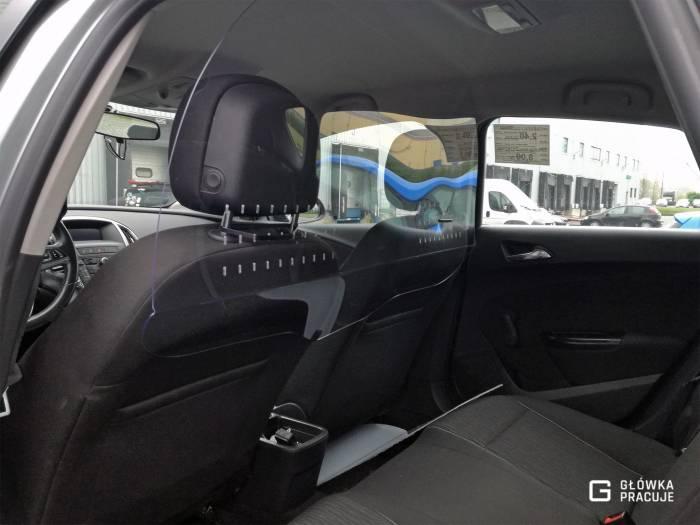 Główka Pracuje - uniwersalna sztywna przezroczysta przegroda antywirusowa Uber Bolt taxi covid19 do samochodu taxi pet 2mm opel - Warszawa